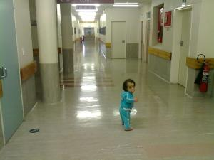 LITTLE ME IN THE HOSPITAL HALL WAY